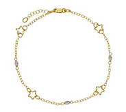 Italian Gold Two-Tone Star & Beads Anklet 14K,2.2g - J381456