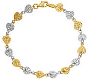 14K Gold 7 Two-Tone Textured Heart Link Bracelet, 3.3g - J381656