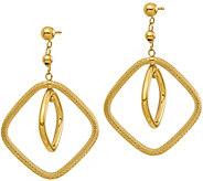 Italian Gold Textured Square Dangle Earrings, 14K - J381856