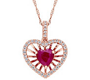 14K Gold 1.00 cttw Ruby & Diamond Heart Pendantw/ Chain - J382356