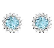 14K Gold 1.20 cttw Round Aquamarine Halo Stud Earrings - J382556