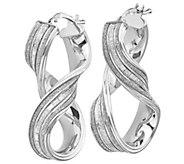 Italian Silver 1-1/4 Glimmer Twisted Hoop Earrings - J382956