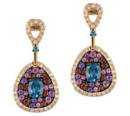 14K Gold 1.40 cttw Multi-gemstone & 1/5 cttw Diamond Earrings - J383656