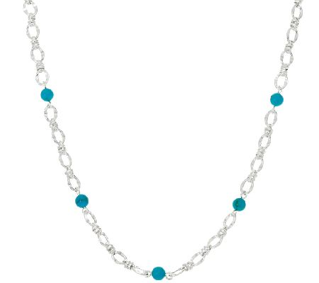 Turquoise Bead Sterling Silver Status Link StationNecklace