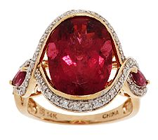 Master Cut 4.80cts Rubellite & 1/5 ct tw Diamond Ring, 14K