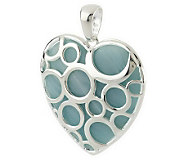 As Is Paola Valentini Sterling Open Circle Gemstone Heart Pendant - J280057