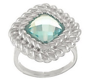 UltraFine Silver Faceted Cushion Cut Gemstone Rope Border Ring - J282257