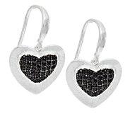 UltraFine Silver 0.25 ct tw Black Spinel Heart Earrings - J289457