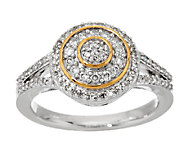 Micropave Halo Diamond Ring Sterling, 1/3 cttw, by Affinity - J291857