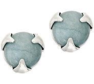 Bronzo Italia Round Gemstone Prong Overlay Stud Earrings - J293357