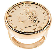 Yellow Bronze 20 Lire Coin Ring by Bronzo Italia - J294557