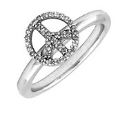 Simply Stacks Sterling Peace Symbol Diamond Ring - J299257
