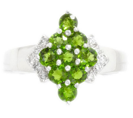 Russian Diopside & 1/10 cttw Diamond Cluster Ring, 14K Gold