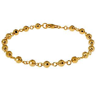 "Veronese 18K Clad 9"" Diamond-Cut Bead Anklet"
