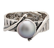 Or Paz Sterling 7.0mm Black Cultured FreshwaterPearl Ring - J303857