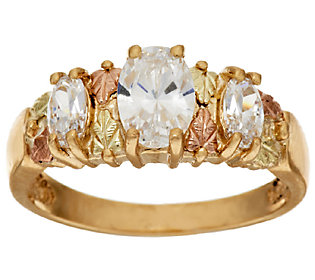 Product image of Black Hills Three Stone 1.20 ct tw Diamonique Ring, 10K/12K