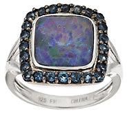 Australian Opal Triplet & Blue Topaz Sterling Halo Ring - J317357