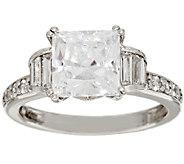 Diamonique 3.30 cttw Princess Cut Ring, Platinum Clad - J317957