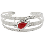 American West Sterling Red Coral Turtle Cuff 32.0g - J318357