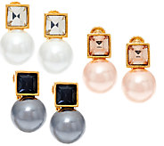 Joan Rivers Clip or Pierced Set/3 Crystal & Faux Pearl Drop Earrings - J321557