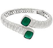 Judith Ripka Sterling Green Chalcedony Bypass Cuff Bracelet - J324157