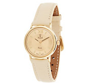As Is Vicence Roman Numeral Round Case Leather Strap Watch, 14K - J327257