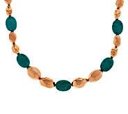 As Is Bronzo Italia 7-1/4 Satin& Polished Turquoise Nugget Bracelet - J327457