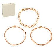 As Is Bronze Set of 3 Polished Ankle Bracelets by Bronzo Italia - J328357