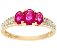 Oval 3-Stone Mozambique Ruby Band Ring 14K Gold 0.85 ct tw - J328657
