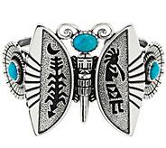 As Is Sterling Turquoise Butterfly Cuff - J331757