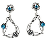 Sterling Silver Gemstone & Flowers Dangle Earrings by Or Paz - J335657