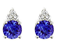 Premier 1.40cttw Tanzanite & 1/10 cttw DiamondEarrings, 14K - J336157