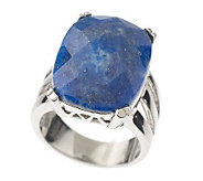 Stainless Steel Bold Faceted Lapis Ring - J337557