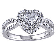 Diamond Heart Ring, 1cttw, 14K White Gold, by Affinity - J339457