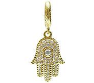 Judith Ripka Sterling 14K Clad 1/2cttw Diamonique Hamsa Charm - J339757