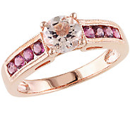 1.15cttw Pink Gemstone Ring, Sterling Silver &14K Rose Plated - J340757