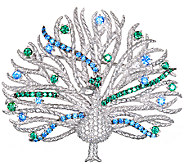 Judith Ripka Sterling & Diamonique Peacock Pin - J340857