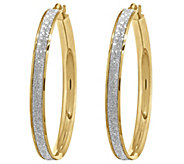 14K Gold Large Glitter Infused Hoop Earrings - J343657