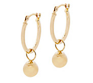 EternaGold Polished Bead Charm Hoop Earrings, 14K Gold - J344657
