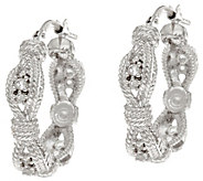 Vicenza Silver Sterling White Topaz Textured 3/4 Hoop Earrings - J345957