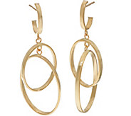 Vicenza Gold Polished Double Oval Dangle Earrings 14K - J347357