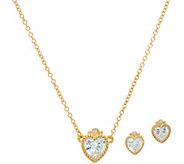 Judith Ripka Sterling & 14K Clad Diamonique Heart Earrings & Necklace Set - J348057