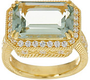 Judith Ripka 14K Clad 5.50 cttw. Mint Quartz & Diamonique Ring - J348657