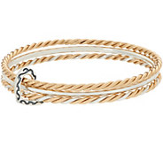 Sterling and Brass Triple Bangle with Heart Charm by American West - J348857