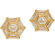Judith Ripka Sterling & 14K Clad Baguette Diamonique Stud Earrings - J349757