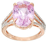 Oval Kunzite & Pave Diamond Ring, 14K Gold 6.70 ct - J350057