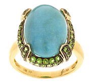 As Is Oval Turquoise & 0.70 ct tw Pave Chrome Diopside Ring, 14K Gold - J350357