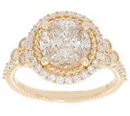 Judith Ripka 14K Gold Round Diamond Seamless Ring, 1.55cttw - J355257