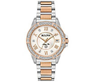 Bulova Womens Diamond Two-Tone Marine Star Watch - J375157