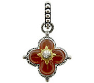 Barbara Bixby Sterling & 18K Gold Carnelian Flower Pendant - J384257